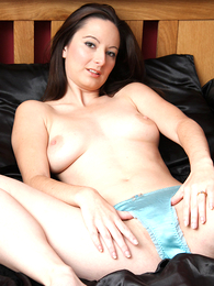 Honey playing with vibrator through her light blue panties