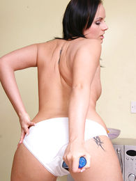 Lucy heating near the room with her vibrator