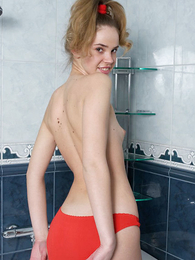 Girl less red pants good-looking a shower