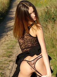 Beautiful teen stripping alfresco