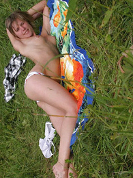 Shaved teen sunbathing take cotton pantalettes
