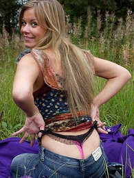 Blonde pulls her crestfallen pink-and-black panties down