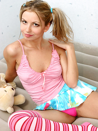 Pig-tailed beauty dressed concerning cute formerly larboard undershorts only