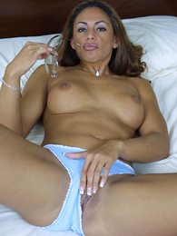 Hot coal-black bitchie pulls her blue panties aside