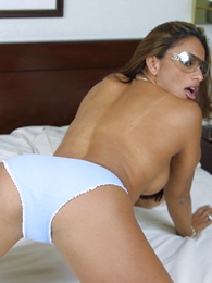 Tanned honey in blue panties plays with mortal physically