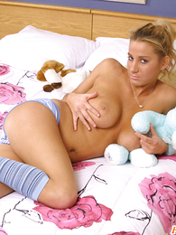 Busty young tow-headed apropos striped socks and undies