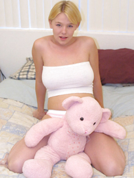 Shy blondie with magnificent bust massages her pink
