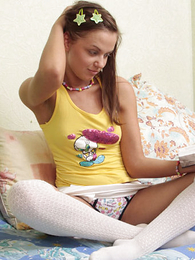 Truly adorable teenager candy in gaiters together with panties
