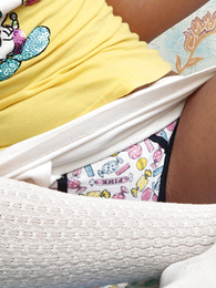 Truly adorable teenager candy in gaiters and panties