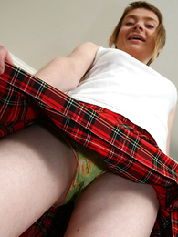Schoolgirl shows you what's under her tartan skirt