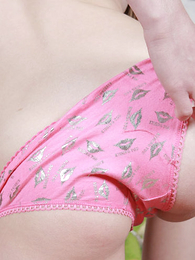 Youthful unused connected with pink knickers finally bares off with