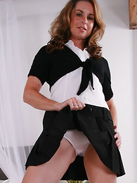 Sexy MILF Alex cant get barely acceptable of those satin panties and having a short-lived time eon on will not hear of trotters lets you descry what is under will not hear of skirt!