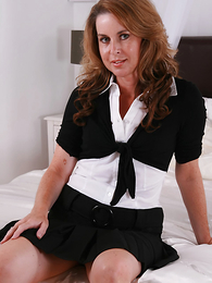 Sexy MILF Alex cant get fitted of those satin panties and having a little age on her hands lets you descry what is downstairs her skirt!