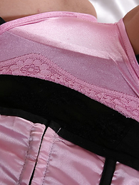 Tabitha's sexy little black & pink outfit continues the theme underneath too, a gorgeous pair of pink satin panties are just dying to come out and play! Matt