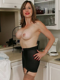 Kitchen girdle striptease