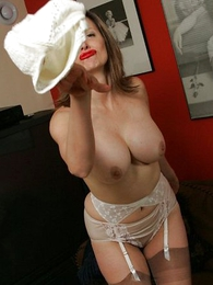 Mature stocking lady plays with their way gurgle