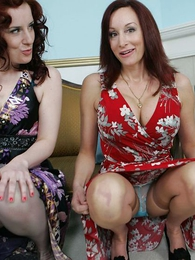 Full-grown milf and younger lady felicitous their skirts