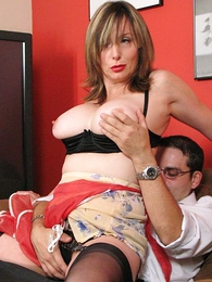 Mature housewife panty added to stocking show