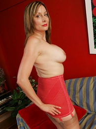 Busty mature girdle travesty