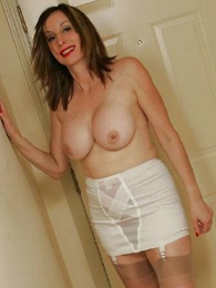 Grown-up stocking girdle striptease