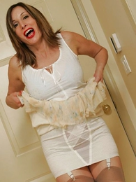 Mature stocking loudly striptease