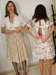 Doyen busty milf and younger foetus show off their girdles