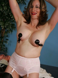 Secretary striptease almost pasties coupled almost stockings