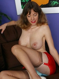 Busty young girl give stockings