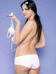 Reanna white cotton old egg short panties