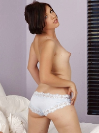 Molly sheer despondent lace panties on the bed