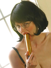 Sultry adult in ffstockings with dildo