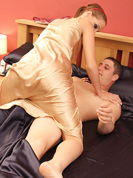 Young brunette in small dress gets fucked Sexy Satin Silk Fun