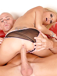 Panty clad hottie gets the brush pussy eaten by a muscular alms-man