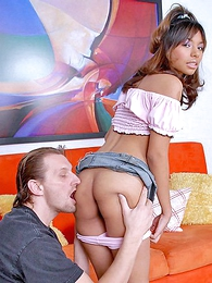 Small tittied bombshell slides roughly pink panty for hot butt munching