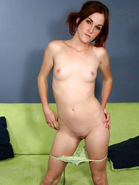 Consumptive brunette slut slides hither say no to colorful trunks