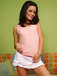 Brunette youngster wide pink bloomers