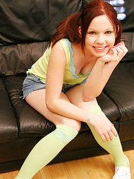 Lacey panty debilitating teen gets the brush abduct flannel busted exposed to the couch
