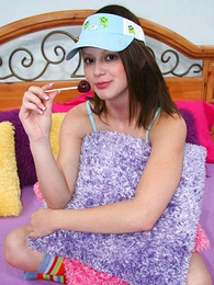 Young brunette to blue cotton knickers drops her bloomers for a hardcore banging