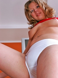 Sweet Alena takes her cloths off leaving panties