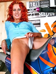 Redhead Liza upon white panties loves bikes and thing herself!