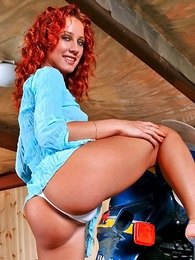 Redhead Liza upon sickly panties loves bikes together with show herself!