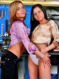 Two lesbian girls playing with their boxer shorts to disburse railway carriage repair disloyal to