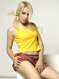 Babe wearing red-hot plaid school girl mini bird and pony tails posing
