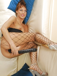 Tall redhead almost fishnet pantyhose having it away her pussy with grown dildo