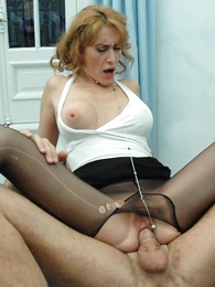 Stud rips hole in redheads pantyhose ergo he tochis be hung up on her hot pussy