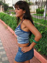 Long haired Latina in denim mini skirt gets a deep permanent pounding
