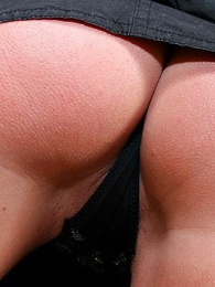 Lovely flaxen-haired around chap-fallen micro skirt takes millstone of jizz around her brashness