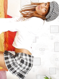 Pound haired redhead surrounding short miniskirt gives guy a bedraggled blowjob