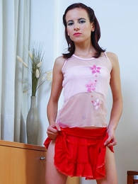 Petite hottie in red mini skirt shows off pink pussy for the camera