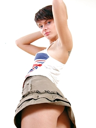 Sweet girl with absolute immutable ass in hot undersized skirt